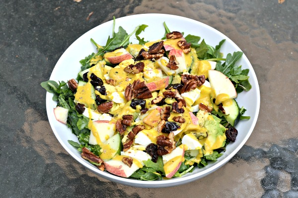 Salad with Tahini Turmeric Dressing