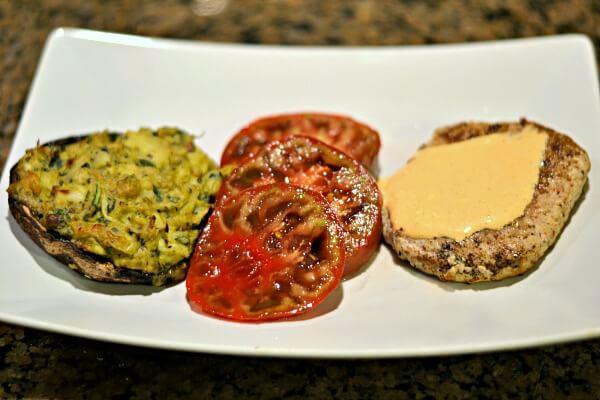 Turkey burgers and stuffed mushrooms