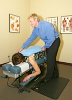 Chiropractic consultation room.
