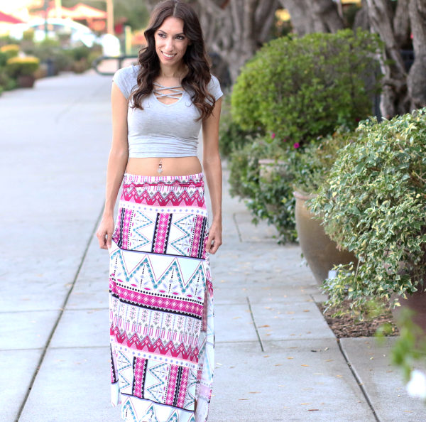 My favorite outfits - aztec printed maxi skirt and crop top