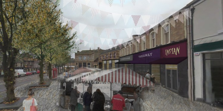 Visualisation of the High Street as a social square with new speculative facades