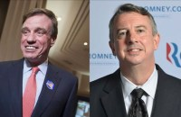 Democratic incumbent Senator Mark Warner (left) and former Virginia Republican Party chairmen Ed Gillespie (right)
