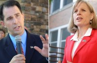 Incumbent Republican Gov. Scott Walker (left) is likely to defeat Democrat Mary Burke, according to the election projection model used by PPD.
