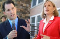 Incumbent Republican Gov. Scott Walker (left) is likely to defeat Democrat Mary Burke, according to the latest WI Gov polls and variables used to determine election predictions in model used at People's Pundit Daily.com.