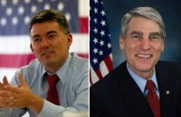 "The PPD Colorado Senate race prediction moves to ""Toss-Up"" as Rep. Cory Gardner (left) proves to be a challenging roadblock for vulnerable incumbent Democratic Senator Mark Udall (right)."