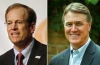 Jack Kingston (left) is now favored over former front-runner David Purdue (right) in the Georgia Republican primary run-off.