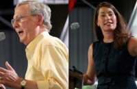 Kentucky Senate race: Minority Leader Mitch McConnell and Alison Lundergan Grimes at the Fancy Farm picnic Saturday, August 2, 2014. (Getty Images)