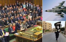 U.K. Prime Minister David Cameron in Parliament (left); an RAF Tornado GR4 aircraft carrying two Storm Shadow missiles under the fuselage (top-right); an Islamic State fighter in Iraq (bottom-right). (Photos: AP/Sky News)