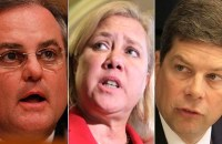From left to right: Incumbents Democratic Sens. Mark Pryor, Mary Landrieu and Mark Begich, all are now statistically likely to lose reelection. (Photos: AP)