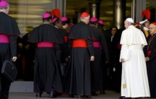Oct. 18, 2014: Pope Francis, right, arrives with bishops and cardinals to attend an afternoon session of a two-week synod on family issues at the Vatican. (Photo: AP)