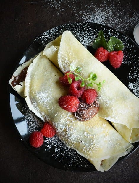 Raspberry Crepe filled with Nutella, kids friendly ...
