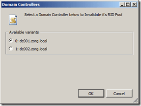 Select a Domain Controller to invalidate it's RID Pool
