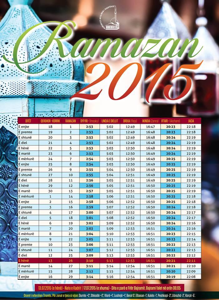 Kalendari i Ramazanit 2015 Vaktija e Ramazanit 2015