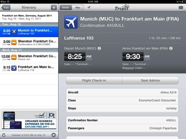 TripIt iPad app