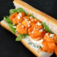 Buffalo Shrimp Sandwiches with Blue Cheese and Chive Dressing