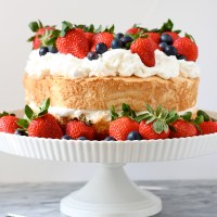 Angel Food Cake with Grand Marnier Whipped Cream