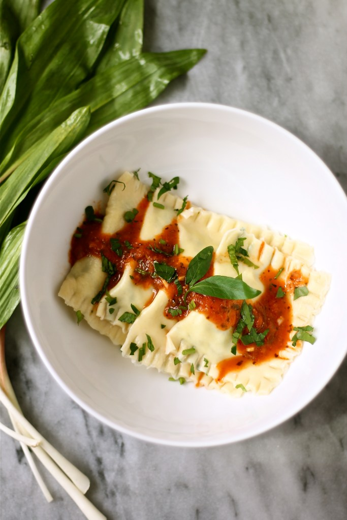 Ravioli with Ramps and Ricotta