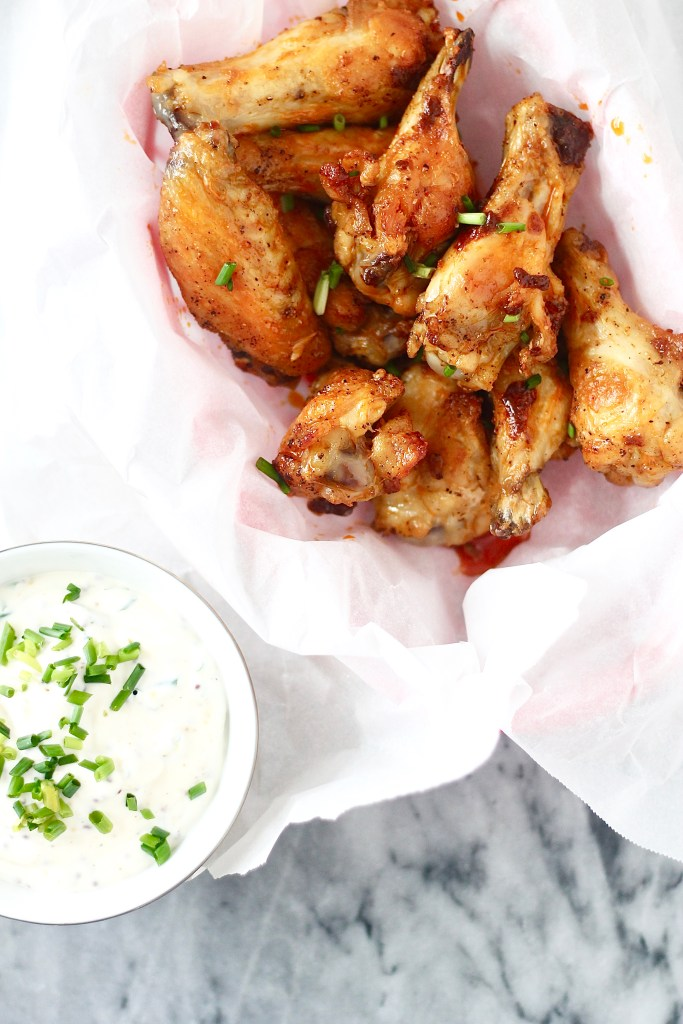Crispy Baked Hot Chicken Wings with Mustard Dipping Sauce