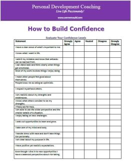 How to Build Confidence - Personal Development Worksheet