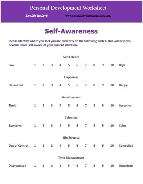 Worksheet Self Awareness Worksheets personal development worksheets free self awareness worksheet