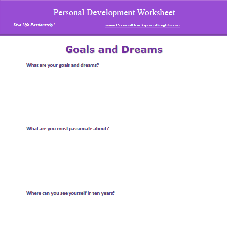 Worksheets Self Awareness Worksheets personal development worksheets free download the worksheet to identify your goals and dreams