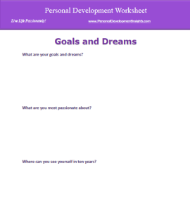 Download the Personal Development Worksheet to Identify Your Goals and Dreams