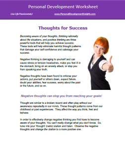 Personal Development Worksheet Thought Awareness