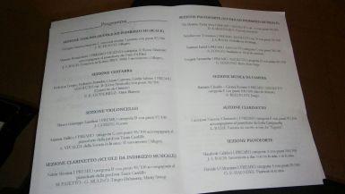 Il programma del concerto di premiazione dei vincitori
