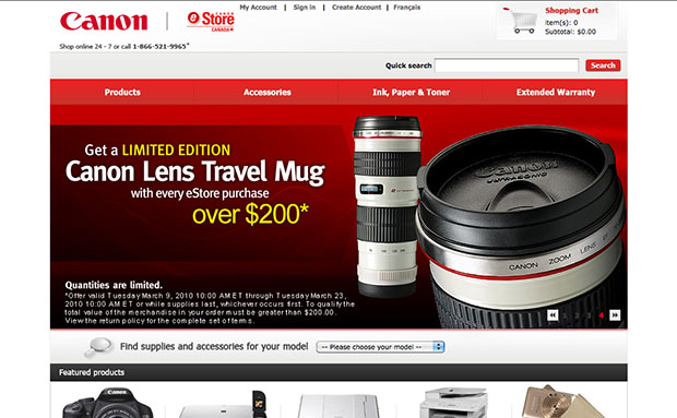 Canon Lens Mug Appears in Canada eStore canoncanadamug