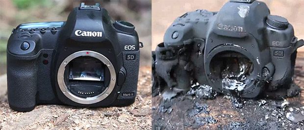 Man Blows a Fireball and Burns Up His Canon 5D Mark II 5dmk2burned