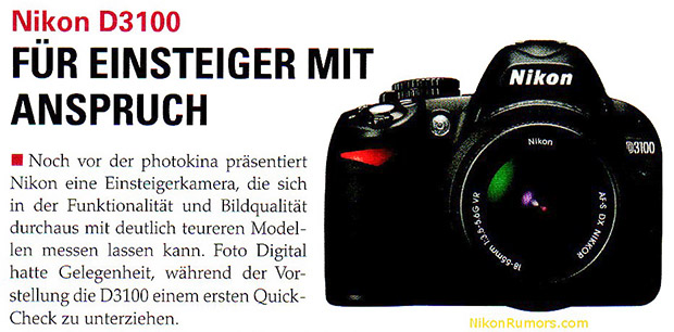German Photo Magazine Leaks Nikon D3100 Specs and Pictures nikond3100