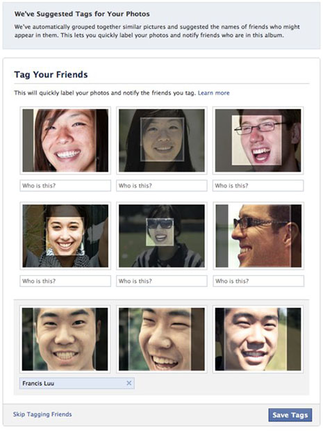 Facebook Adds Facial Recognition to Photo Tagging facialrecognition