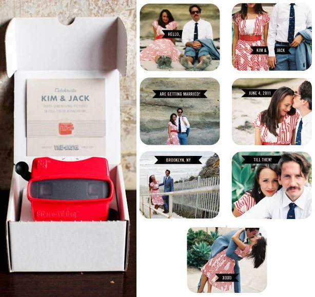 Digital Photos Turned into View Master Wedding Invitations weddinginvite