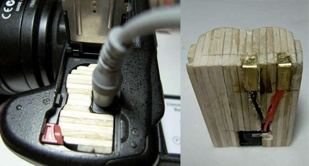 How to Make a Wooden AC Adapter for a Battery Only Digital Camera woodbattery mini