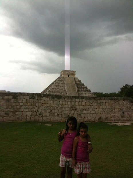 Man Captures iPhone Photo of Mayan Pyramid Firing Beam Into the Sky beam mini