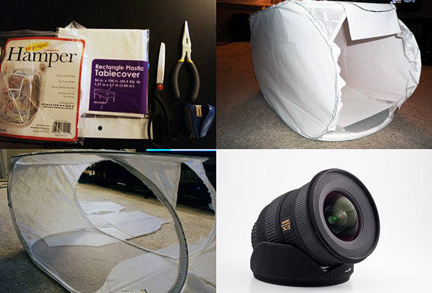 Make a Portable Tabletop Studio Using a Collapsible Hamper hamperstudio mini