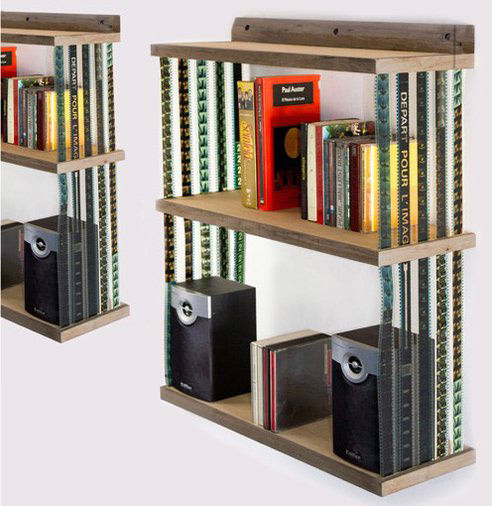 Collapsible Hanging Bookshelf Made with Reused 35mm Film Strips shelf1 mini