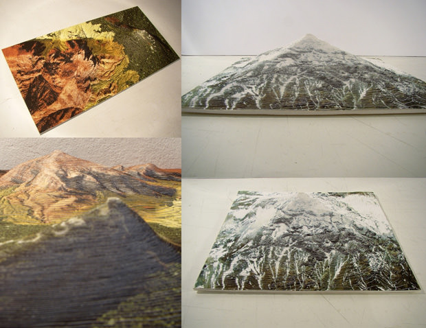 Topographic Photo Sculptures Created by Stacking Prints topo mini