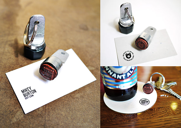 Use a Keychain Stamp to Turn Anything into a Business Card businesscardstamp mini