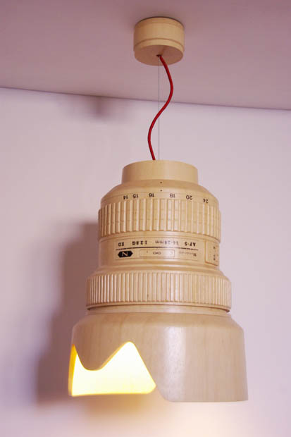 A Wooden Hanging Lamp Shaped Like a Giant Nikon 14 24mm Lens hanginglamp1