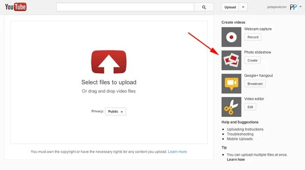 YouTube Can Turn Your Photographs into a Slideshow In Just Minutes youtubeslideshow