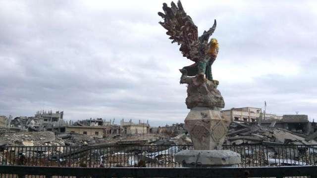 Eagle Statue Still Standing in Freedom Square, Kobane