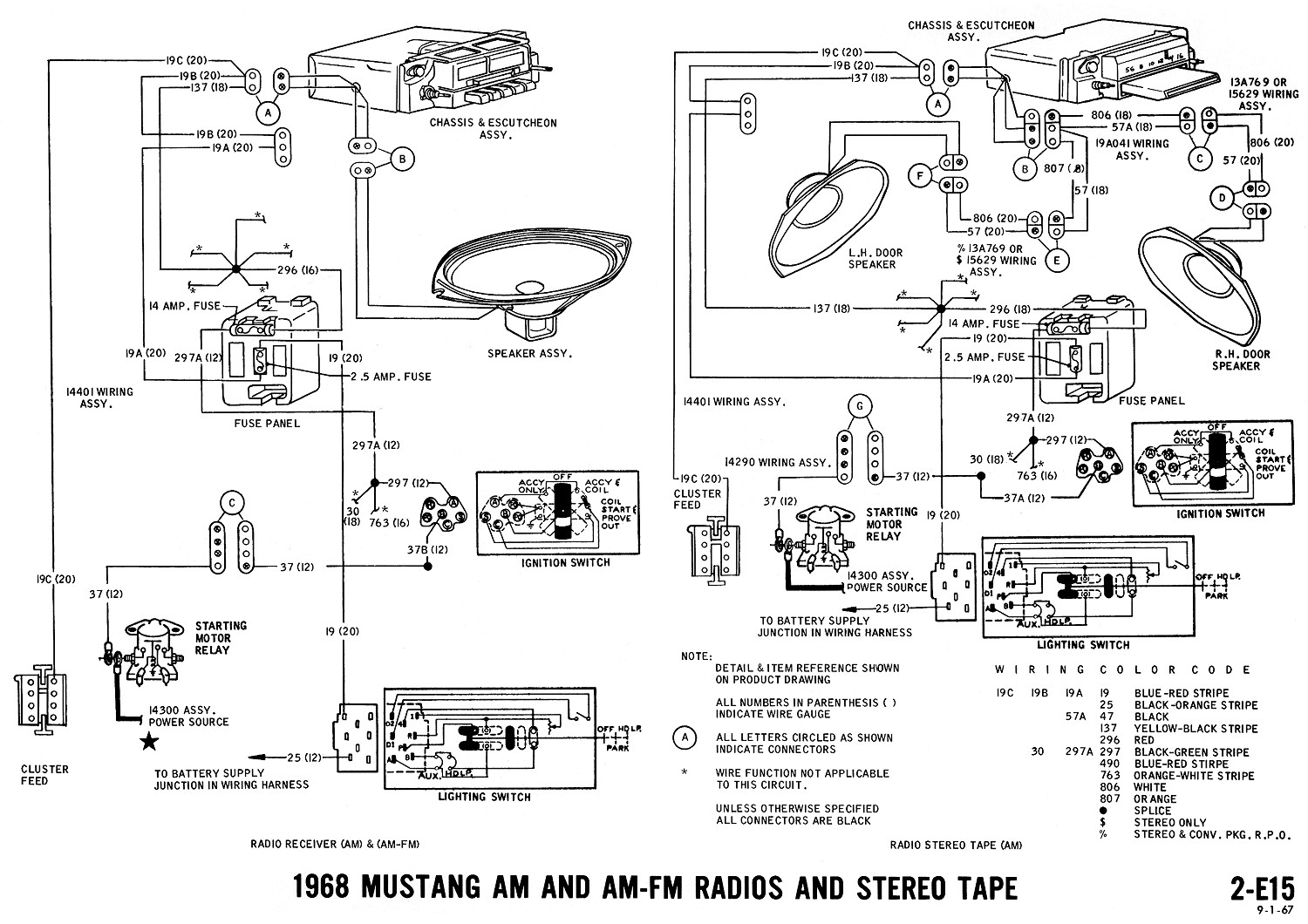 1994 camaro radio wiring diagram with 1968 Mustang Wiring Diagrams on 445360 Wiring Diagram Instrument Cluster Plug also 1991 Buick Park Avenue Fuse Box Diagram 2 as well Gm Frame Diagrams together with Discussion C4643 ds621091 also 1968 Mustang Wiring Diagram Vacuum Schematics.