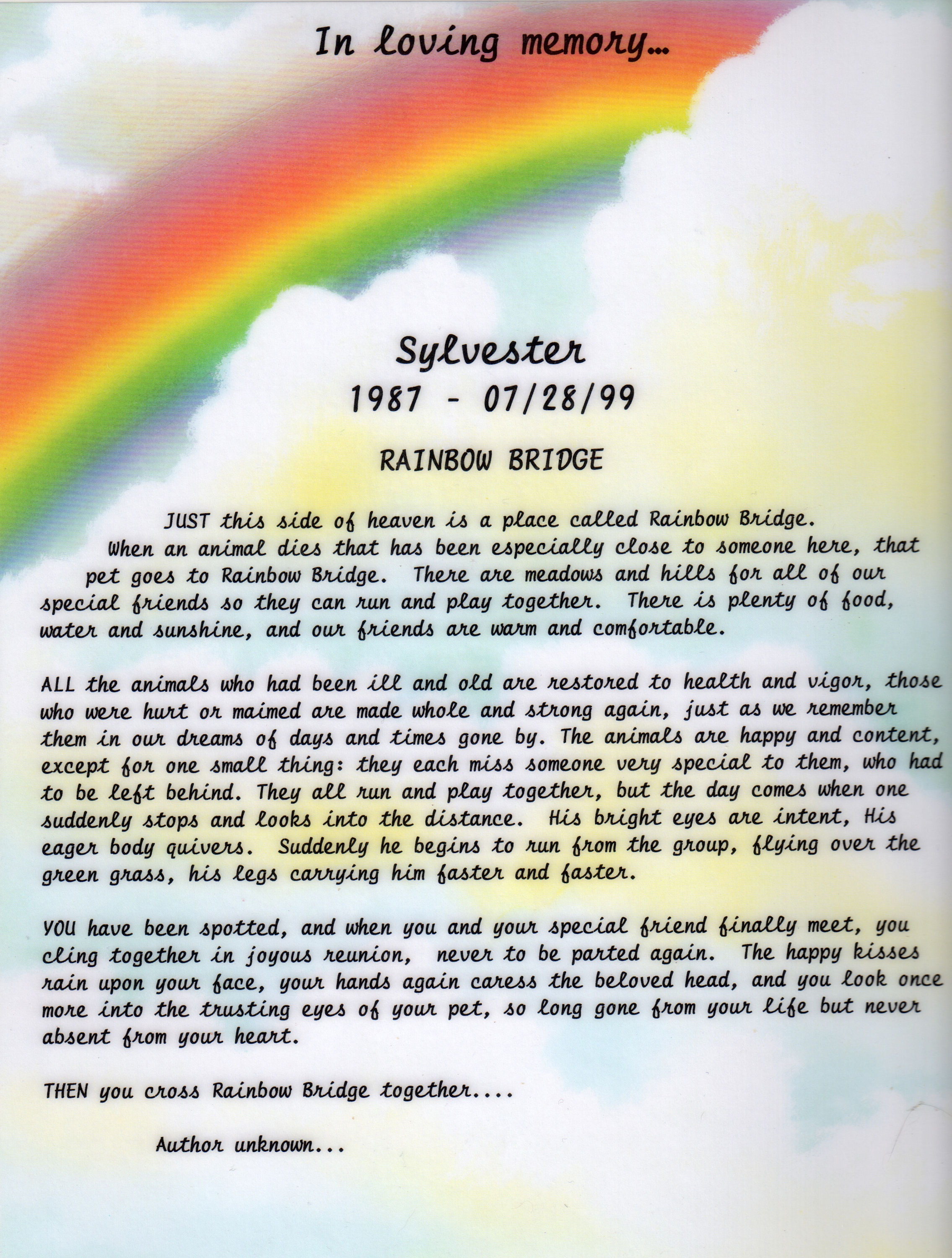 picture regarding Poem Rainbow Bridge Printable referred to as One of a kind Rainbow Bridge Puppy Cremation Poems Rainbow