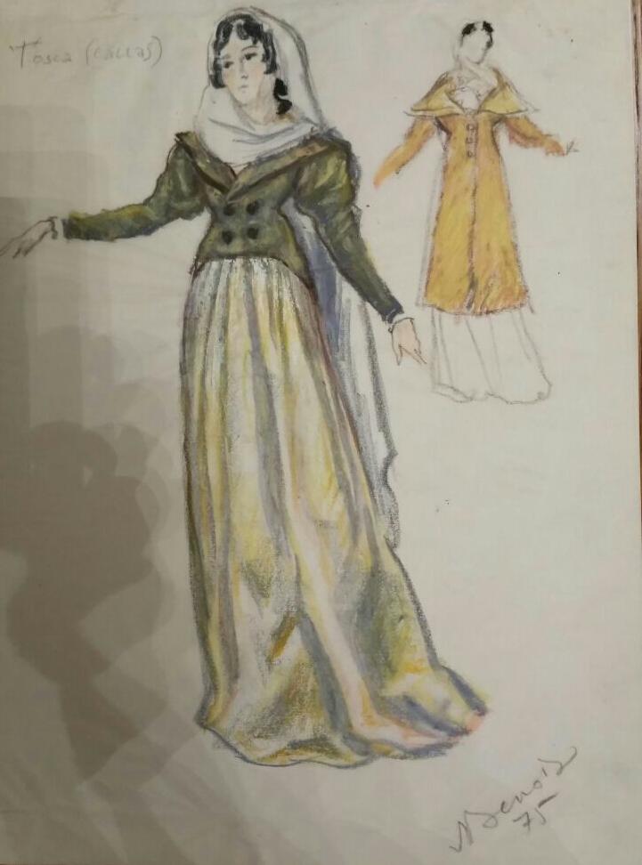19_Nicola Benois, Figurino per Tosca (Callas), atto I, 1975. Collezione privata