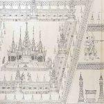 Die Bildrolle aus dem alten Siam zeigt mit großem Detailreichrum die Kremation eines Königs im Jahre 1704