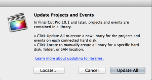 """You'll see this dialog the first time FCP X 10.1 """"sees"""" a new drive, or select it from the File menu."""