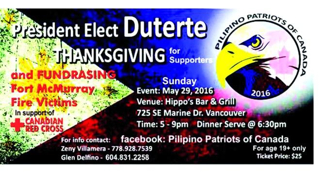Duterte Thanksgiving