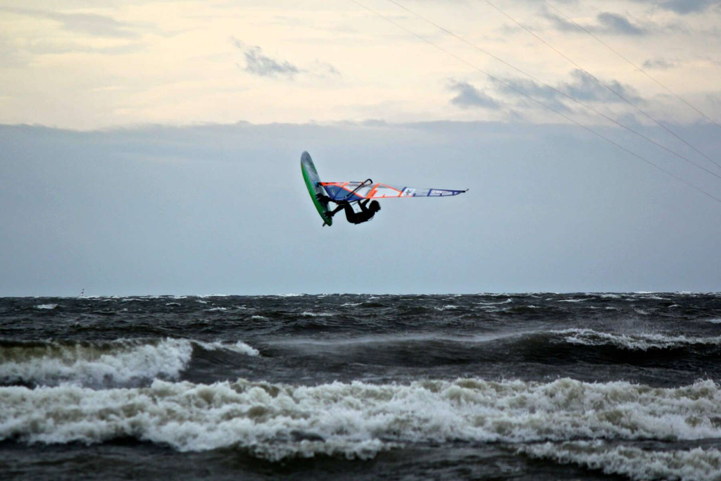 Jump - Phil Soltysiak CAN 9 Windsurfing on Lac Champlain. Photo by Adam Wojtkowiak.