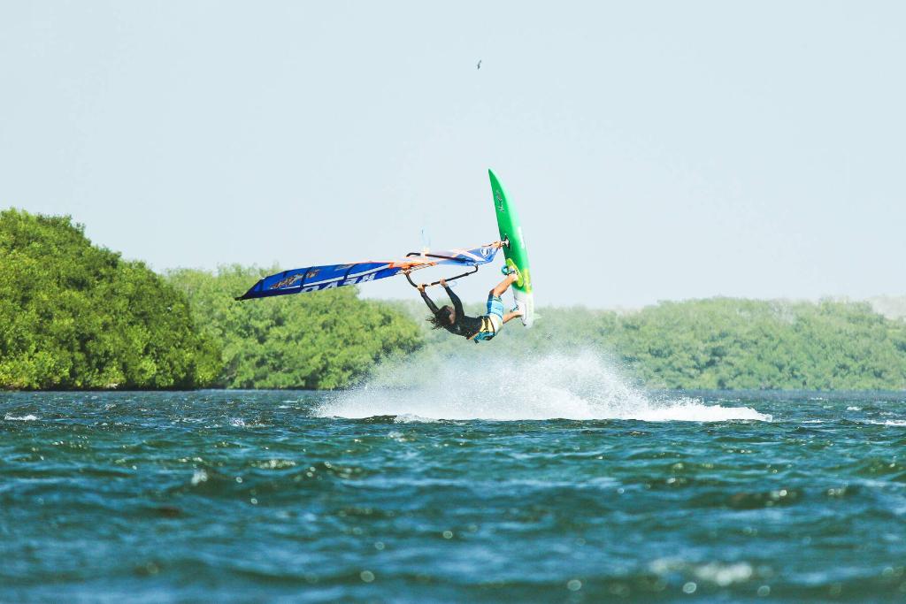 Phil Soltysiak Windsurfing Kono in Manglillo, Isla Margarita, Venezuela. Photo by Fukajaz.